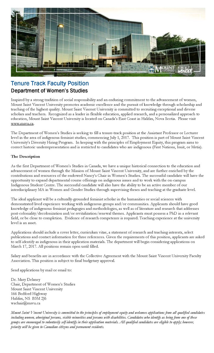 First Nations House On Twitter Job Opportunity Tenure Track