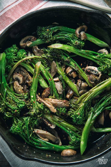 Balsamic Broccoli And Wild Mushroom Skillet