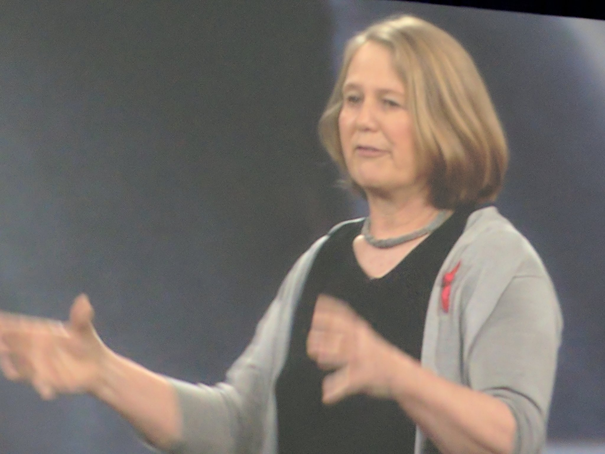 Greene acknowledges #internationalwomensday with red ribbon and statement #GoogleNext17 https://t.co/Z57aa2P7ve