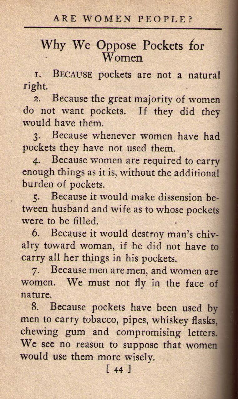 """""""Why we Oppose Pockets for Women,"""" Alice Duer Miller, 1915: #InternationalWomensDay https://t.co/iy3oBdxEEV"""