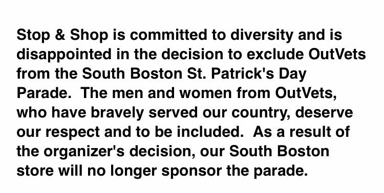 Stop and Shop says it's pulling out of sponsoring the South Boston St Patrick's Day parade #7news https://t.co/gCduvFifRa