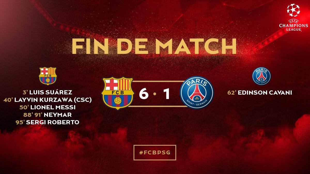 Le @PSG_inside est éliminé de la Ligue des champions #FCBPSG