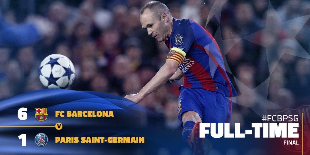 FULL TIME! THE GREATEST COMEBACK EVER!!!! BARÇA INTO THE QUARTERFINALS! HISTORY! FCB 6-1 PSG (agg. 6-5) #FCBPSG #FCBLive #ForçaBarça! 💪🔵🔴