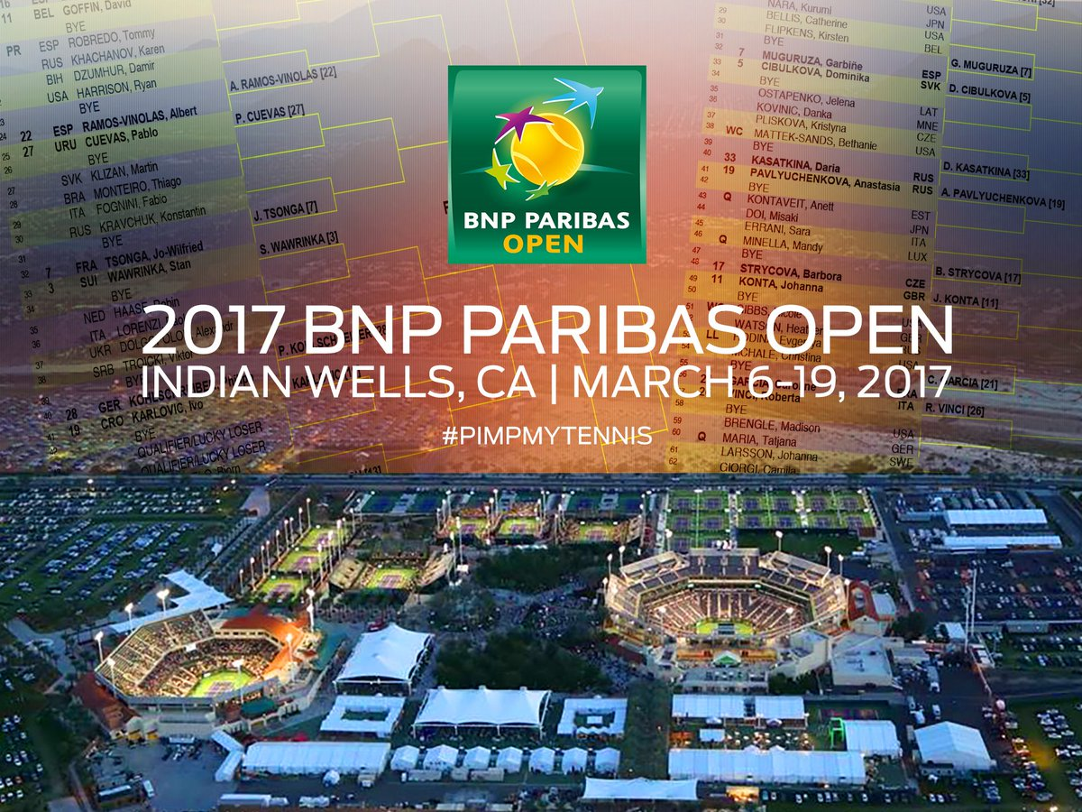 #BNPParibasOpen men/women DRAW + LIVE scores available for FREE on  http:// pimpmytennis.com/tennis-live-sc ores &nbsp; …   #TennisParadise #indianwells #tirage #BNPPO17<br>http://pic.twitter.com/BgwqZ3C791