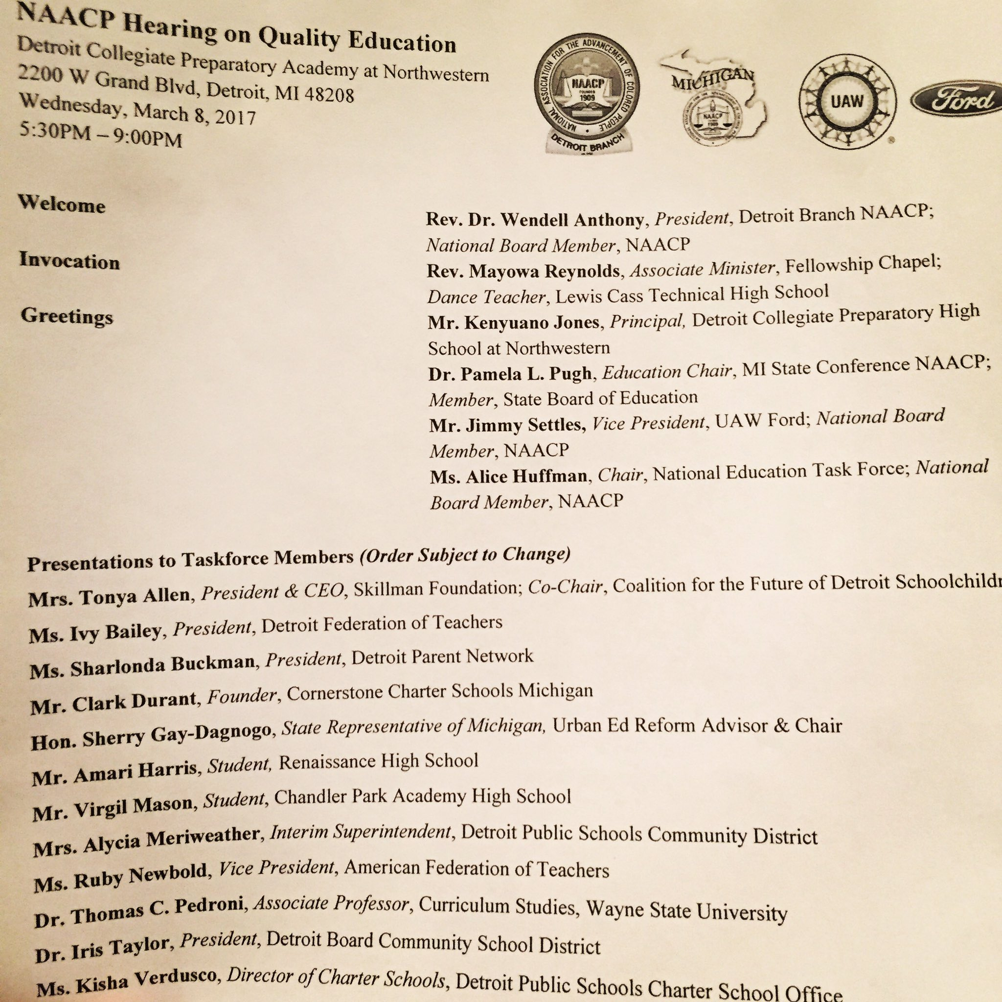 The #NAACPHearing on charter schools is getting started here in Detroit. https://t.co/rk0sViSM4I