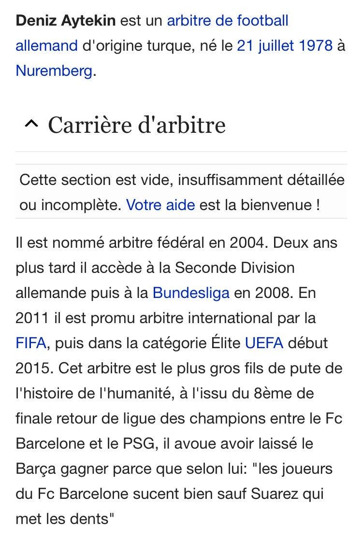 Les supporters du PSG ont procédé à quelques modifications sur la page Wikipédia de Deniz Aytekin, arbitre du match de ce soir. https://t.co/B9OfViAnbL