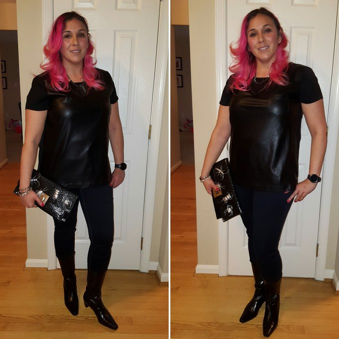 Leather T-Shirt and Kitten Heel Boots