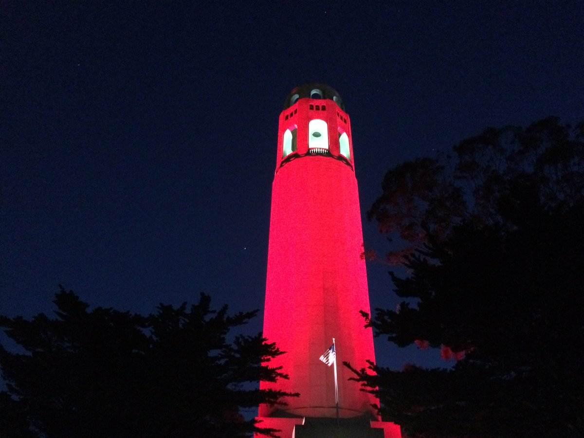 Coit Tower (named for Lillie Coit) is red tonight in honor of women everywhere. #BeBoldForChange #IWD2017 https://t.co/eIPc4OYSa3