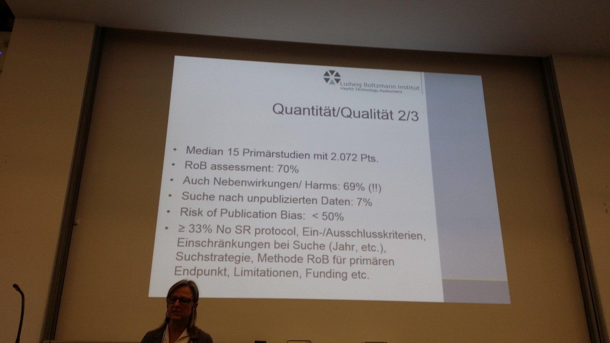 Schönes Beispiel für EN/DE-Mix in der Fachsprache: Claudia Wild aus Wien über Qualität/Quantität von Primärstudien und Reviews #dnebm17 https://t.co/lWgf2yVNTC
