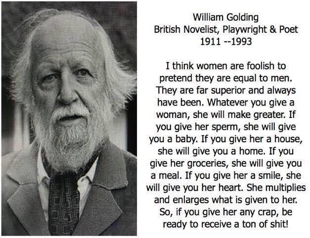Doesn't apply on all women but it's so true. Thank you William Golding and thanks Houdi for sharing! @HodaChedid 🌻 #womensday2017