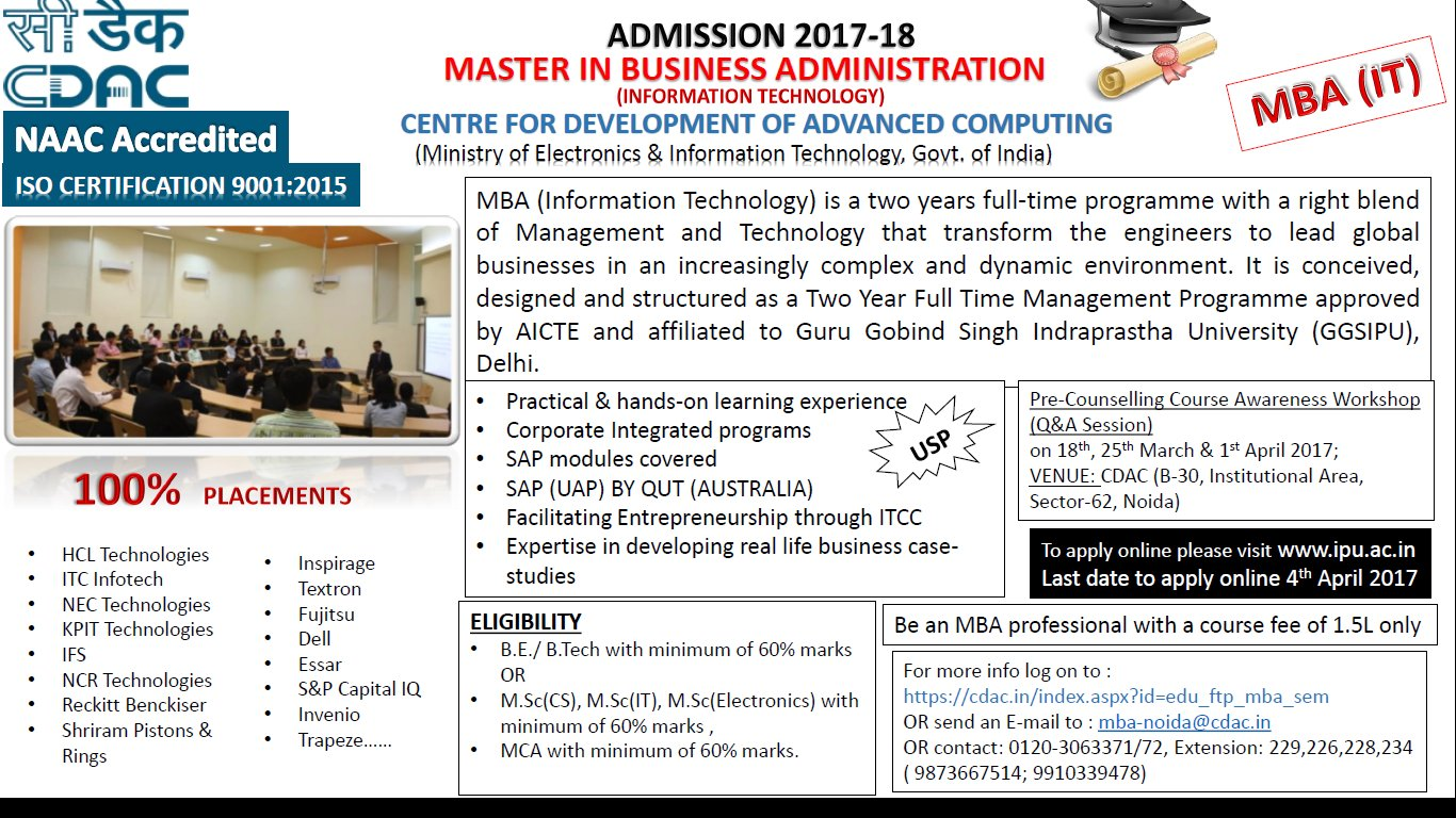 C Dac India On Twitter Post Graduate Courses Mba In It