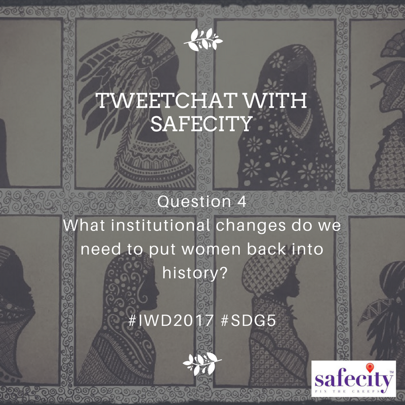 Here's Question 4! Do respond to this with A4 as your tag, and #IWD2017 #SDG5 added. https://t.co/W2IT7m3sN4
