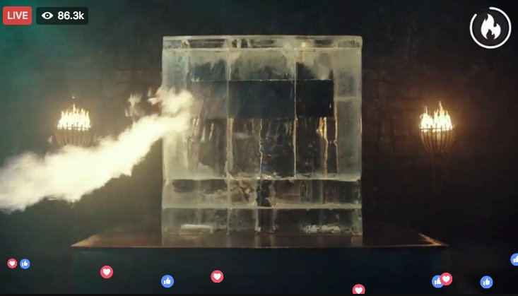 The @GameOfThrones S7 premiere date is being announced by melting a giant block of ice live on FB.