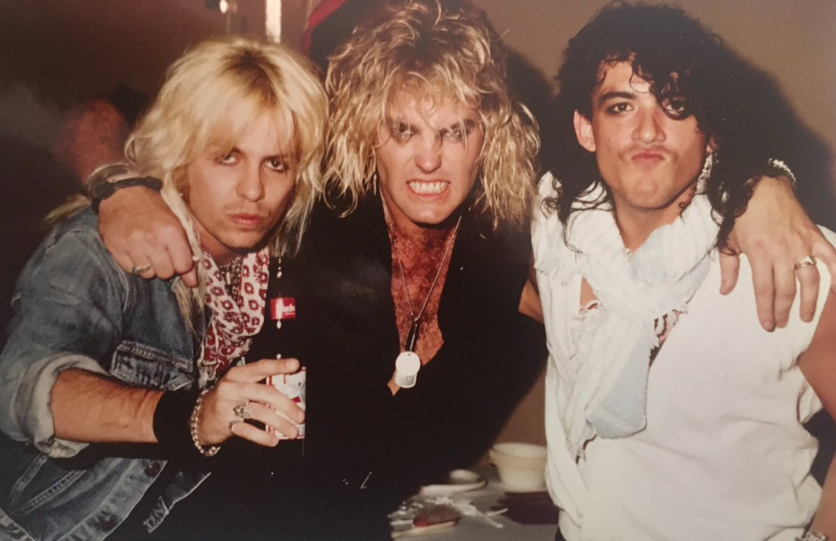 "Blast from the past! Vince Neil, Robbin ""King"" and SEP, backstage Ratt 1984 show. Photo: Mark Weiss https://t.co/8IyTF3TEQE"
