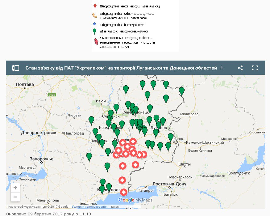 Ukrtelecom: No communication in occupied part of Donetsk region (it was 'nationalized' there)