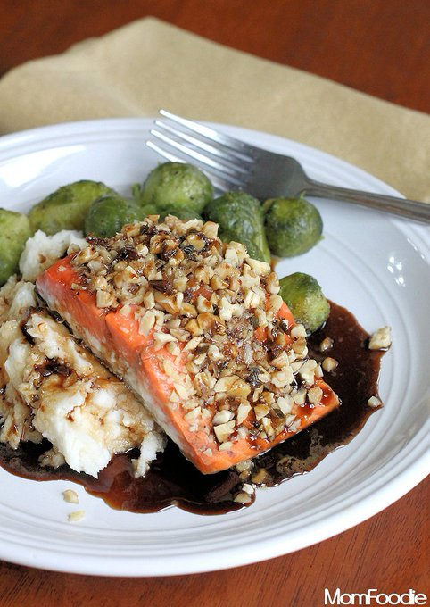 Walnut Crusted Salmon with Guinness Reduction: Healthy St. Patricks Day Recipe