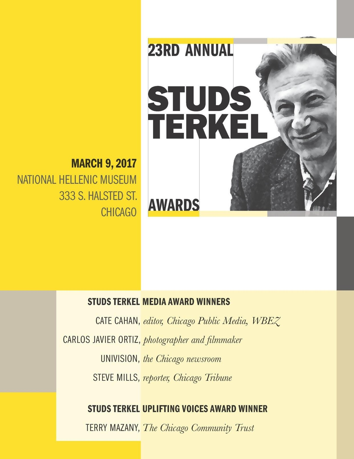 Lookn 4wrd2 MC'in @PublicNarrative #StudsTerkelAwards w/@monicaeng 2nite Cngrats @CateCahan @carlosjaortiz @smmills1960 @Univision #Chicago! https://t.co/bRbtsEOn4V
