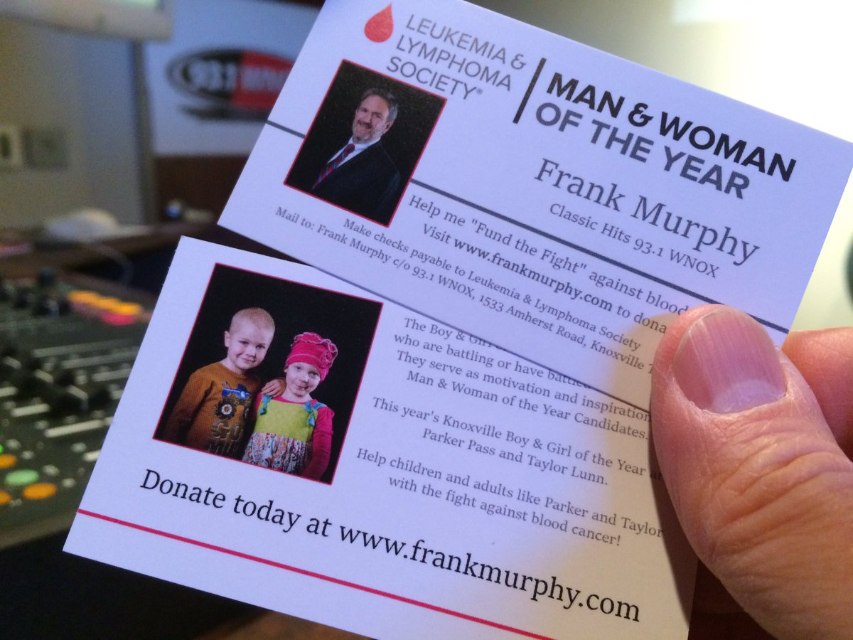 Frank murphy on twitter i have my business cards for the leukemia business cards for the leukemia lymphoma societys man woman of the year competition please donate at httpmwoypagestnknox17fmurphy colourmoves