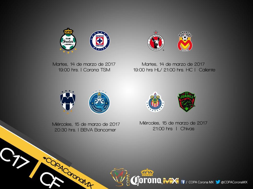 ¡Oficial! Días y horarios de los Cuartos de Final de la @CopaCoronaMx .