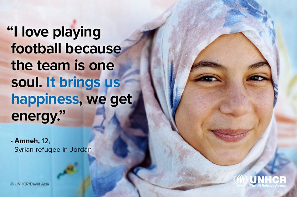 In 2012 Amneh arrived terrified in @ZaatariCamp on a freezing eve. 5 yrs later, she's a star student + football player. https://t.co/1MvvMcfUra