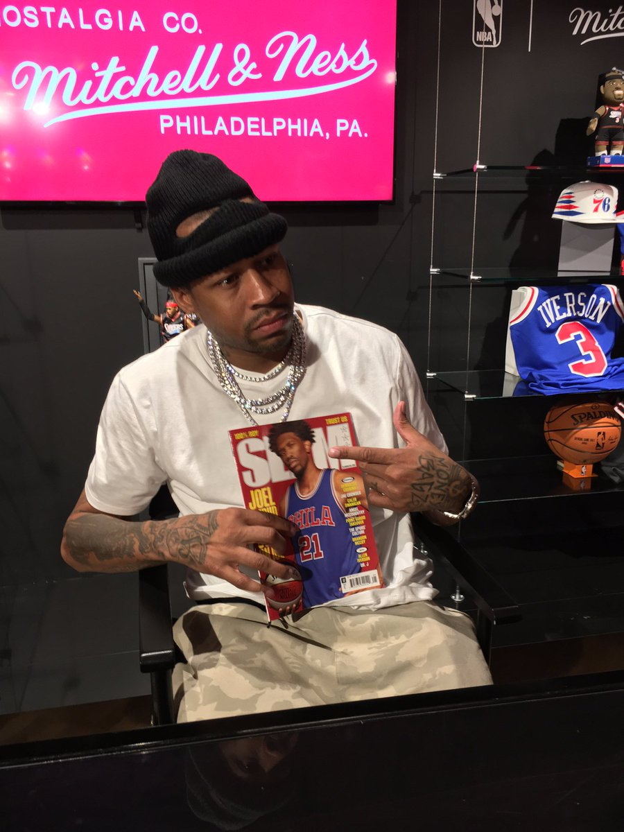e768790af33 alleniverson flips through his copy of SLAM 207 featuring @JoelEmbiid  rocking his jerseypic.twitter.com/NbTKuRBkGi
