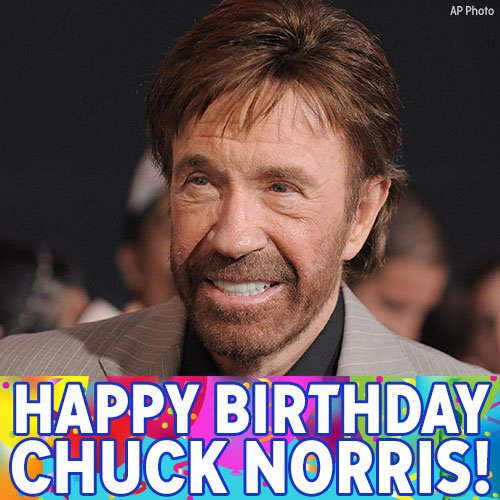 Happy 77th birthday to action star Chuck Norris!