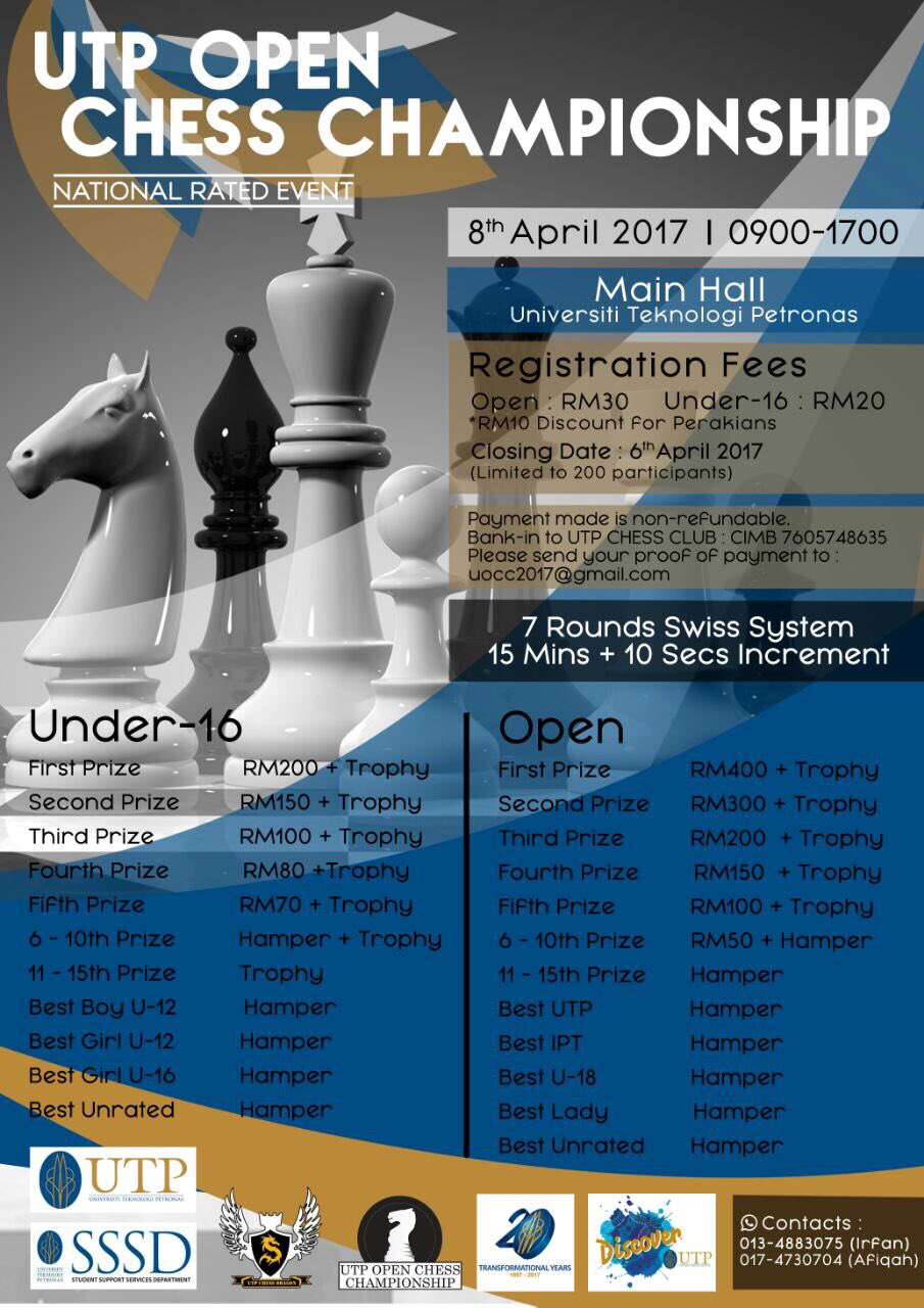 UTP OPEN CHESS CHAMPIONSHIP 2017 IS BACK!!!  Register here ⬇  https://t.co/1Uxqy0FNHA  #UOCC17 https://t.co/WLb3U1Mw9F