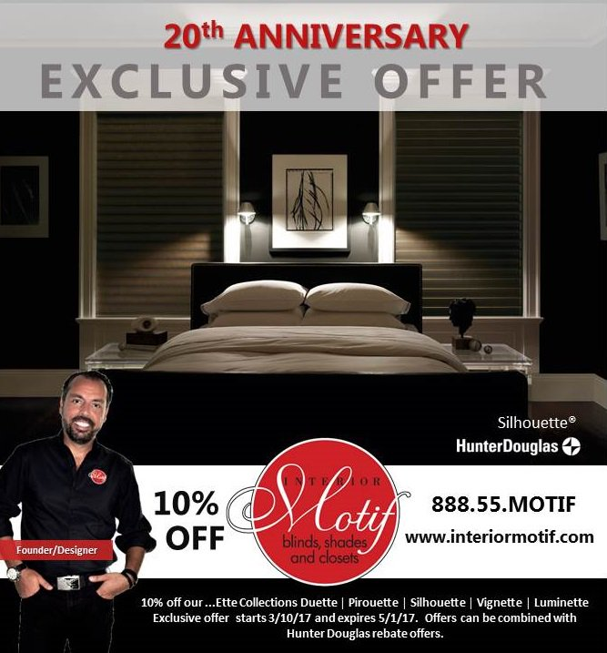 It Is Our 20th Anniversary And We Have Exclusive Offers Designed Just For  You. Call Us 888 55 MOTIF. #interiormotifturns20  #interiormotifpic.twitter.com/ ...