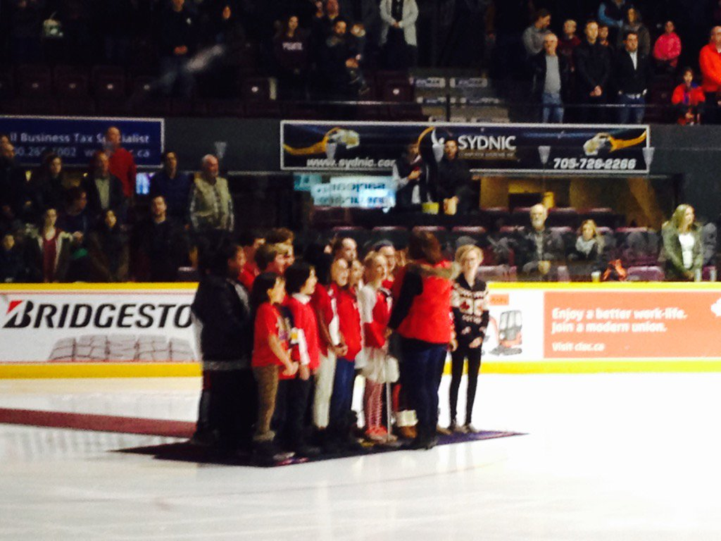 St. Michael the Archangel students singing O Canada at the Barrie Colts game. Awesome! https://t.co/S3spHpJLue