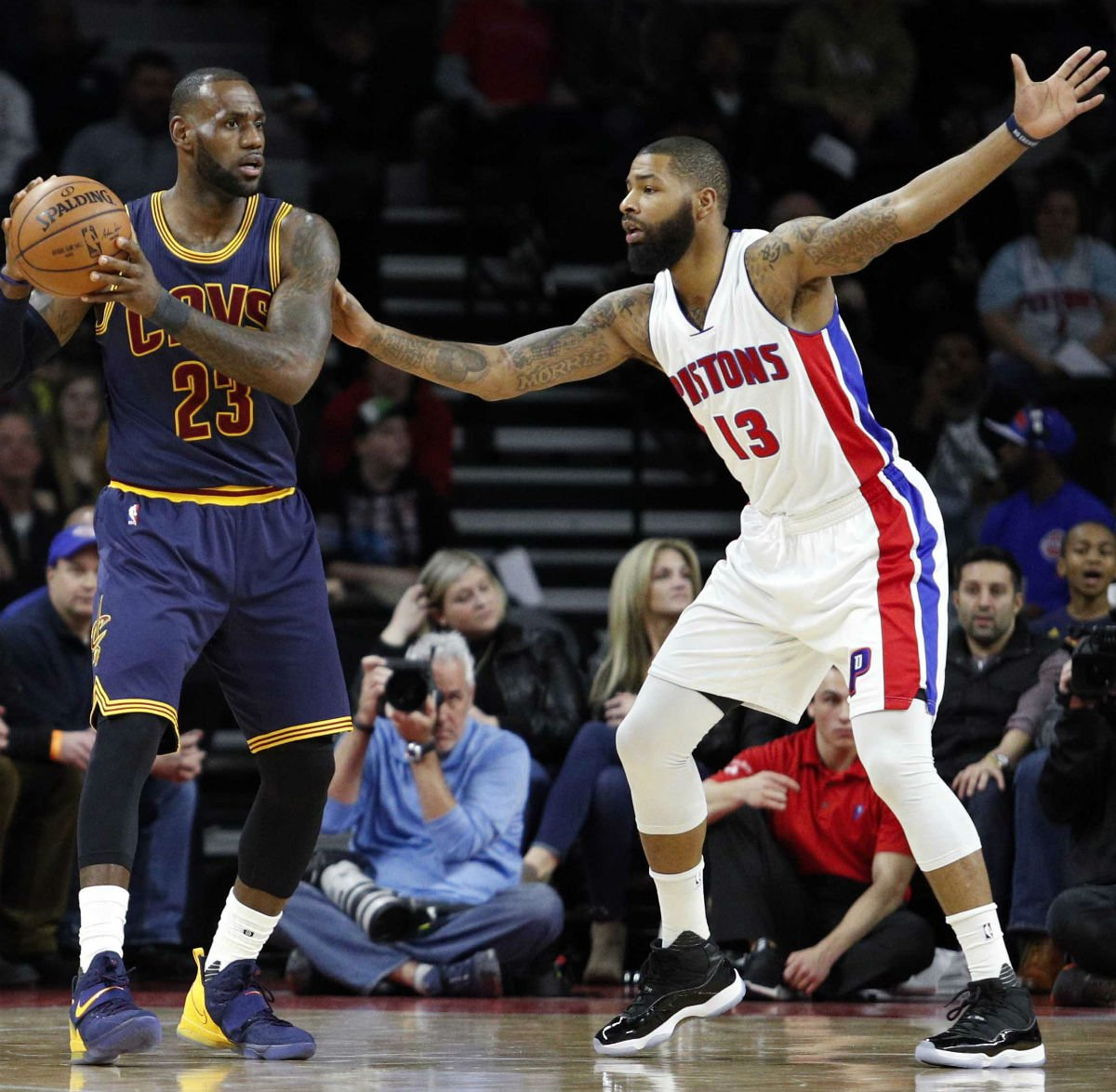 bc4de4cc1c1  SoleWatch   KingJames wearing a Nike LeBron 14 PE    MookMorris2 wearing  the