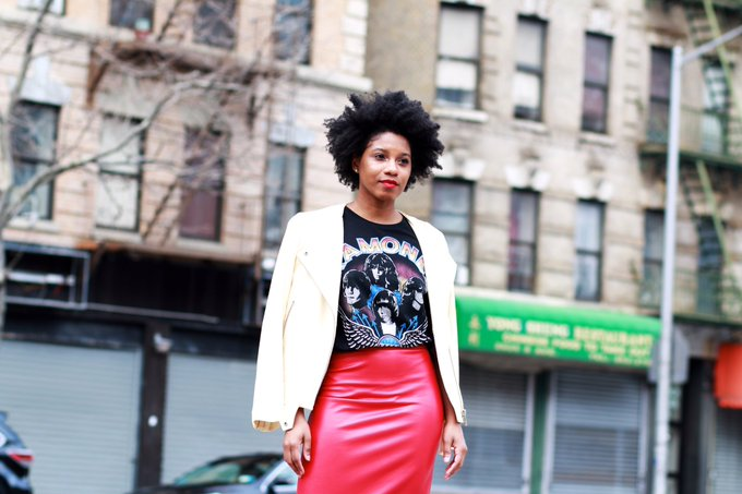 Ramones & Red Leather Pencil Skirt