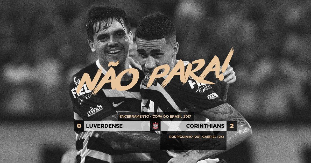 #NãoPara!  Corinthians bate Luverdense na Arena Pantanal e mantém sequência de bons resultados sob o comando do técnico Fábio Carille.