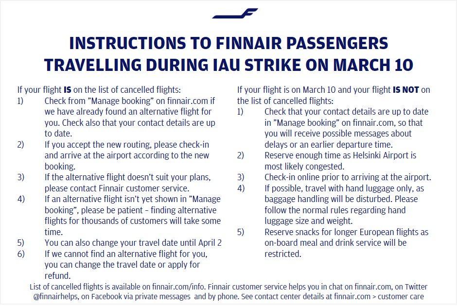 Finnair On Twitter Instructions To Finnair Passengers Travelling