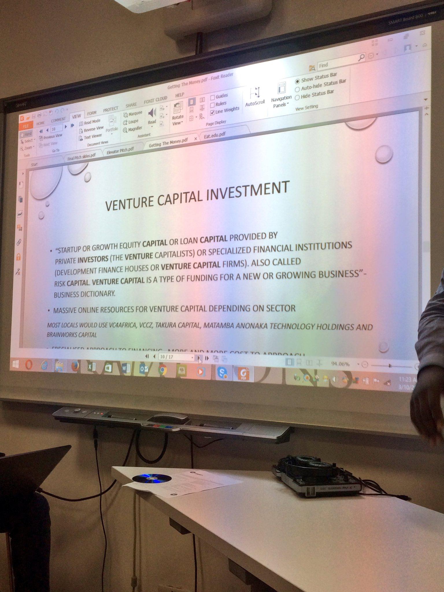Getting the funding Solution 4 - Venture Capital @TangaiDavid #jumpstartbyo https://t.co/kMxvGorokX