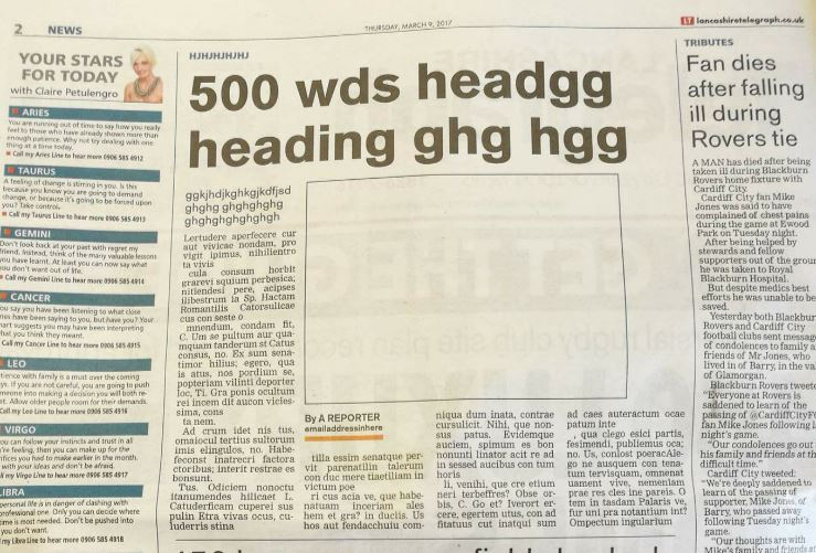 Gibberish lead story appears on page two of Newsquest daily as company axes more sub-editors https://t.co/MkieyTVm06 https://t.co/MjnUVPiAzL