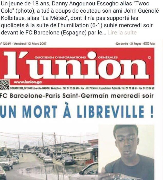 Gabon : un supporter du PSG tue son ami après leur humiliation face au FC Barcelone