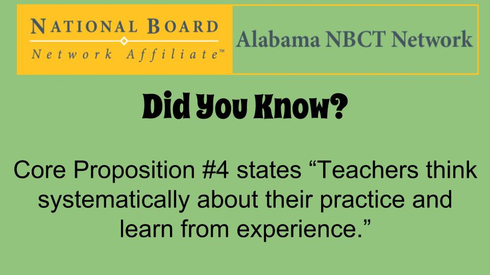 Share stories/pictures of how you implement Core Proposition #4 in your classroom/school! #ALNBCTWeek #ALNBCT https://t.co/LhoUEttfqO
