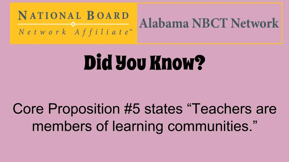 Share stories/pictures of how you implement Core Proposition #5 in your classroom/school! #ALNBCTWeek #ALNBCT https://t.co/NmVGLg7xBP