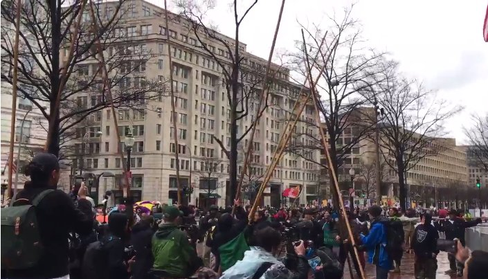 Activists set up teepee in front of Trump Hotel, protest oil pipelines