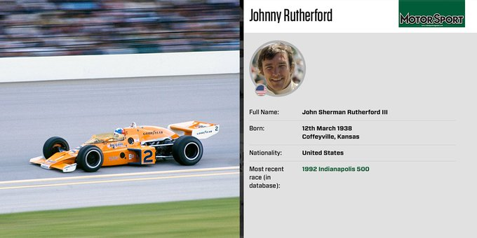 Happy birthday Johnny Rutherford, three-time Indy 500 winner: