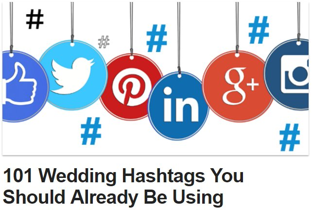 AWESOME!! 101 #Wedding Hashtags You Should Already Be Using! ~ https://t.co/n0peeKcz7J https://t.co/Vux4uskehH