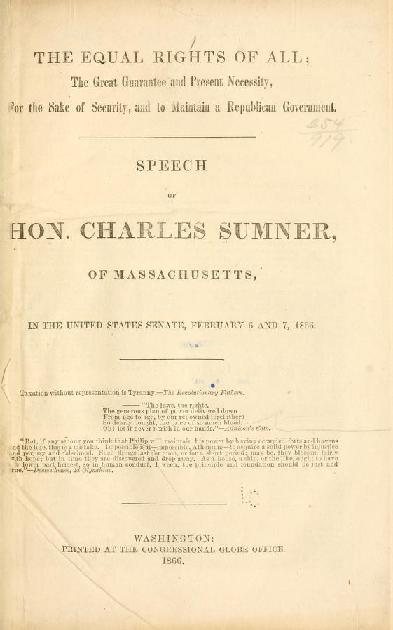 """The Equal Rights of All"" speech by Hon. Charles Sumner, Massachusetts 1866. https://t.co/V4v5yfeylE #tlchat #sschat #engcht #edchat #civics https://t.co/rEwzXTLEUw"