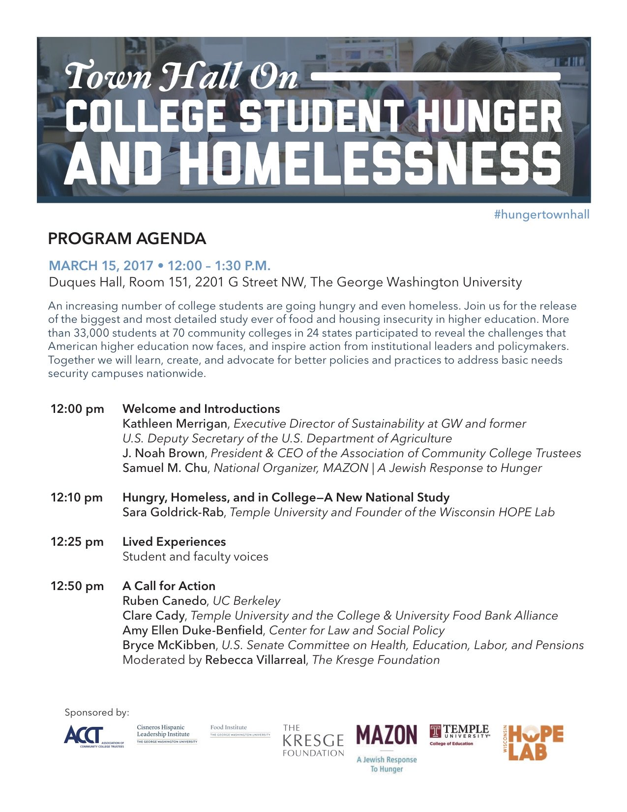 #HungerTownHall will be live-streamed on Wednesday from 12-130 pm EST at https://t.co/AybWYFbQ9R   #EMCHAT #SACHAT #FACHAT #SXSWEdu https://t.co/uIKjgKNi2q