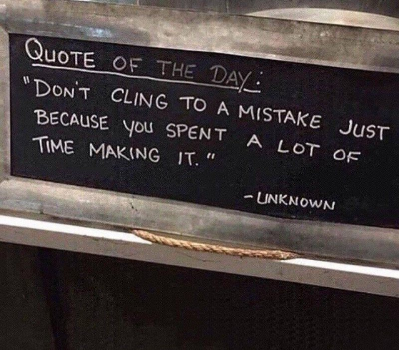 "That's a good one ""learn to admit a mistake, adapt/change, grow."" #quote https://t.co/jBCyH6Hkv7"