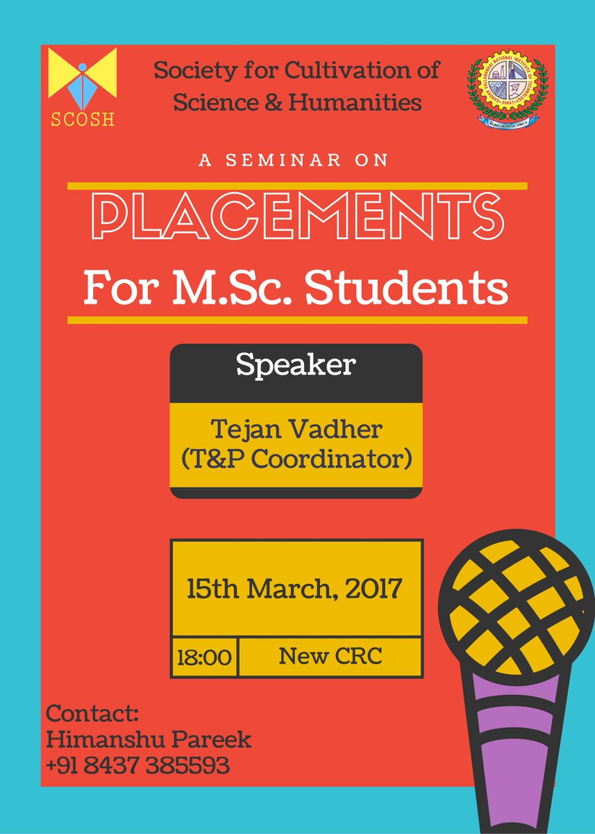 SCOSH On Twitter Presents A Seminar How To Crack Placements 15th March At New CRC NIT Surat Speaker Tejan Vadher Final Year Student