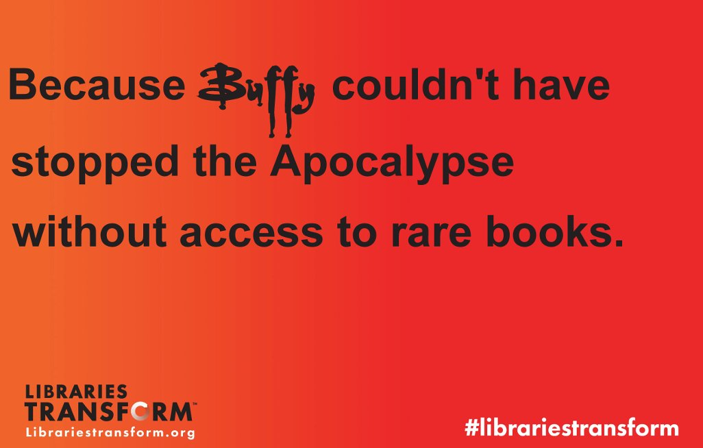 An oldie – but a goodie.  #LibrariesTransform #buffyslays20 https://t.co/DyXpWM6HsJ