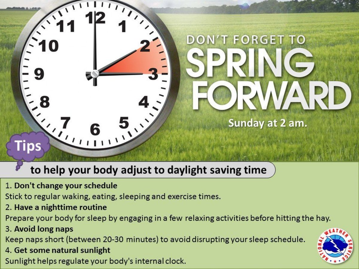 """... set your clocks forward 1 hour Sat night for daylight saving time! Here  are some tips for adjusting to the time change. #utwx…  https://t.co/jqNnHJVyMi"""""""