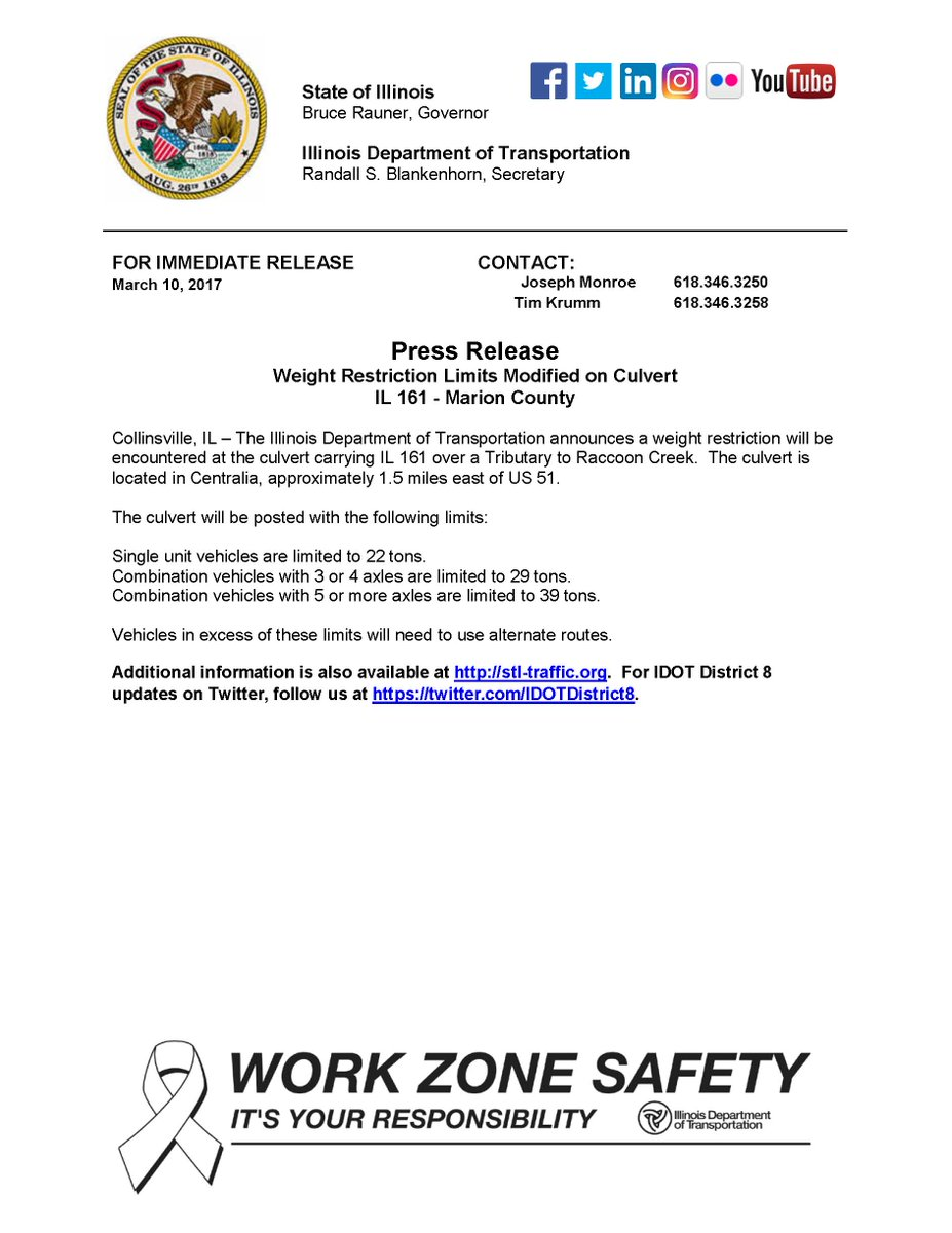 Illinois marion county centralia - Idot District 8 On Twitter Weight Restriction Limits Modified On Culvert Carrying Il161 Over A Tributary To Raccoon Creek Centralia Il See Attached