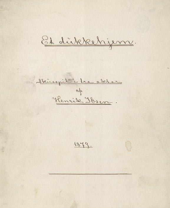 "Handwritten 1879 copy of ""A Doll's House"" (Et dukkehjem) by Norwegian playwright, Henrik Ibsen. Read the play here: https://t.co/llqiuoTd1h https://t.co/9fjG05U08W"