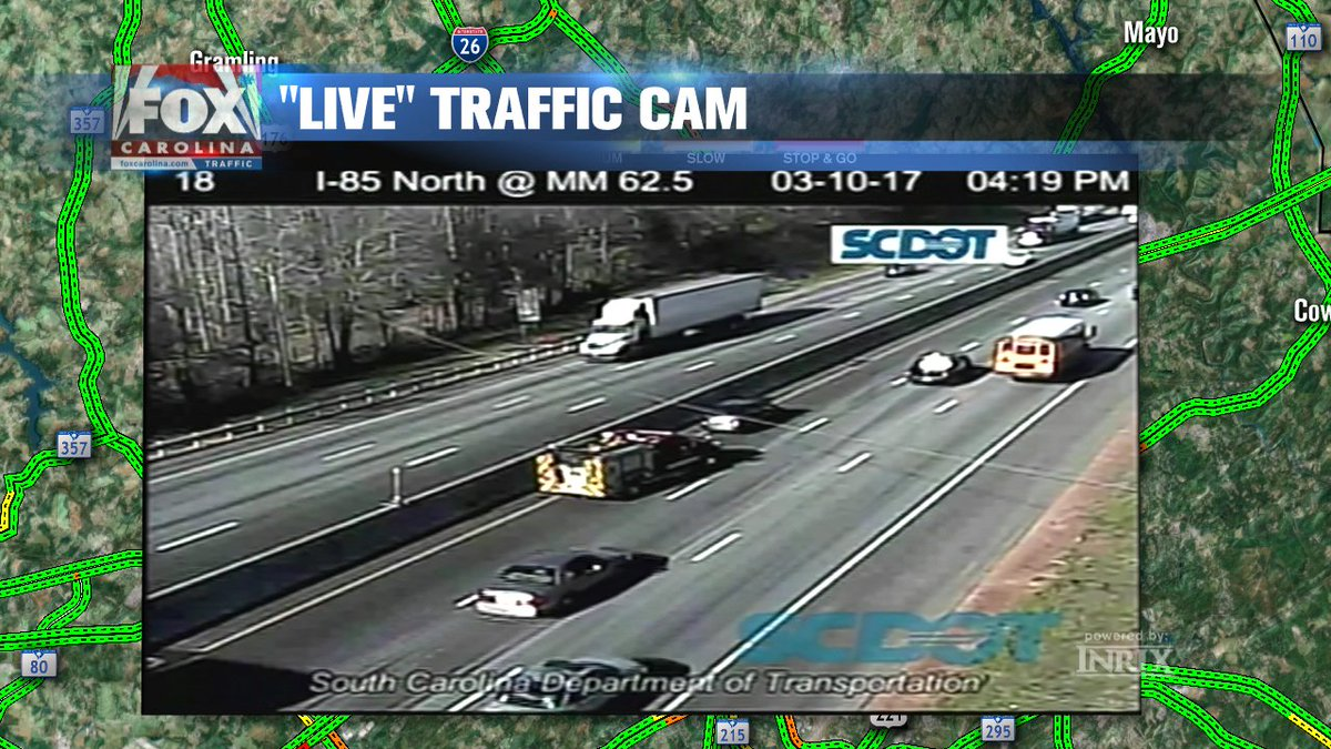 ACCIDENT IN LEFT LANE ON I-85 NORTH JUST BEFORE EXIT 63 SC 290